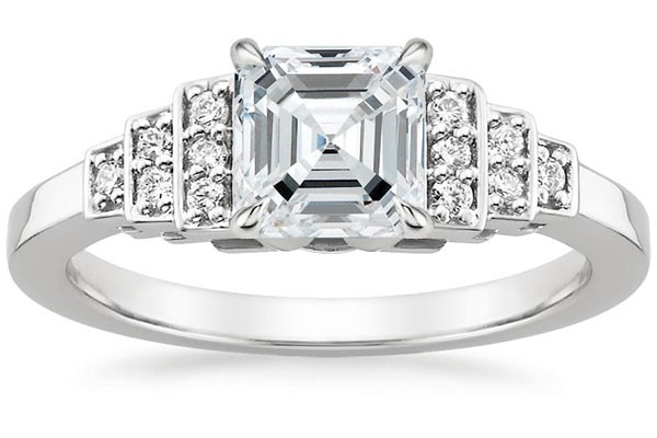 engagement ring with asscher cut center stone