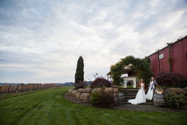 two brides in Northwest vineyard styled shoot