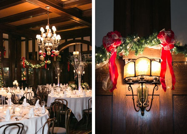 Christmas wedding reception decorations by lighting and chandeliers
