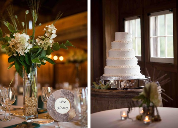 five tier white wedding cake and tall floral centerpieces