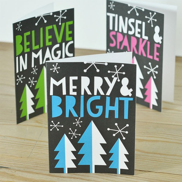 Christmas cards with neon trees