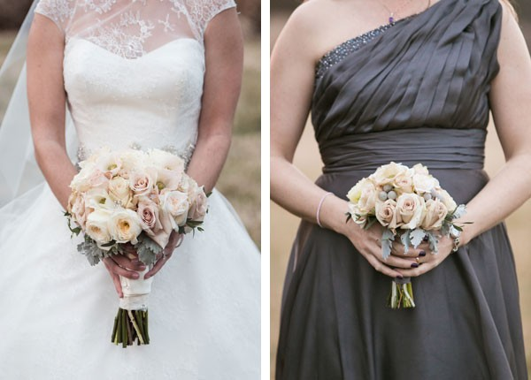 bride and bridesmaid with pale, light floral bouquets