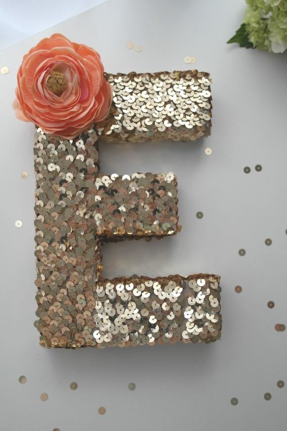 easy DIY gold sequin monogram with silk flower