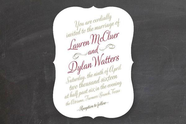 wedding invitation in gray and marsala cursive script