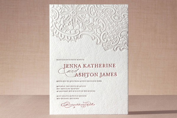 letterpress wedding invitation with lace design