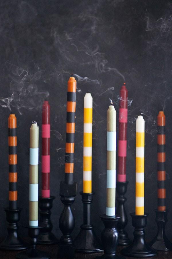 DIY multicolored striped candlesticks