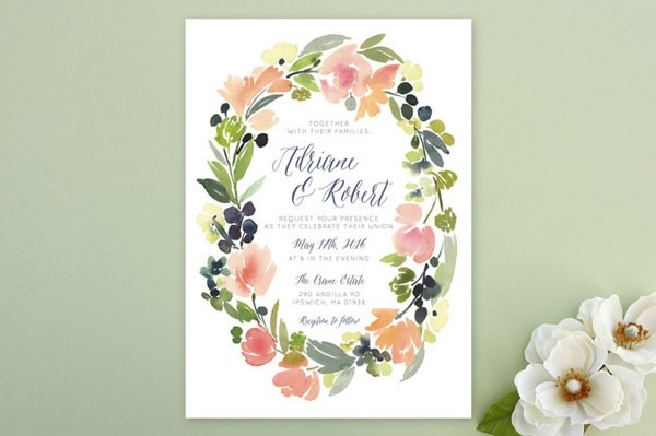 floral wreath wedding invitation with flat printing