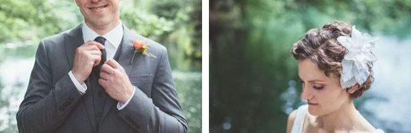 bride with headband in short hair and groom adjusting tie