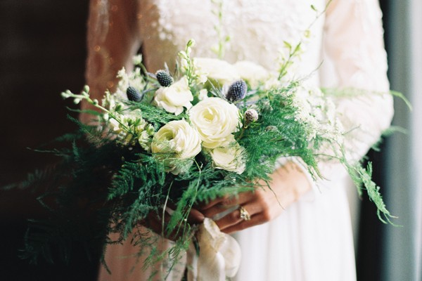 Romantic woodsy ranunculus, rose and fern bouquet by Hello Darlington from mywedding magazine