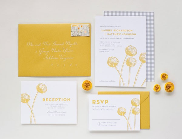 yellow and white wedding invitation with billy balls and gray gingham