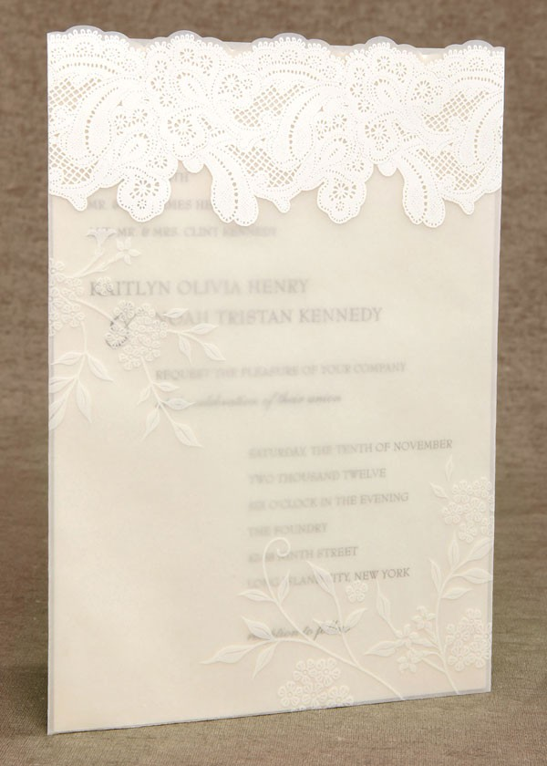 wedding invitation with layer of lace accent