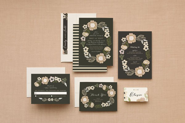 botanical floral wreath wedding invitation from Minted