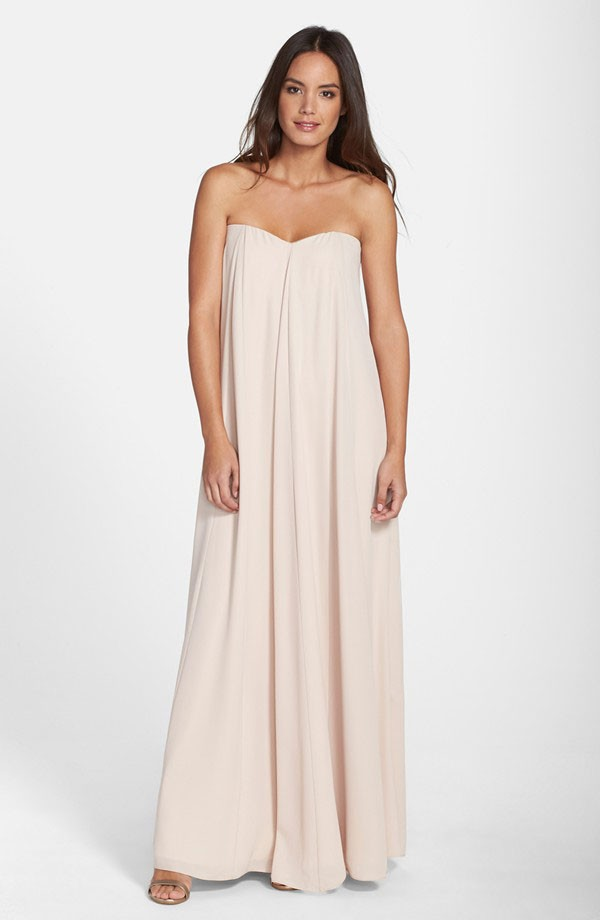 flowing bridesmaid dressy in creamy neutral by Lauren Conrad