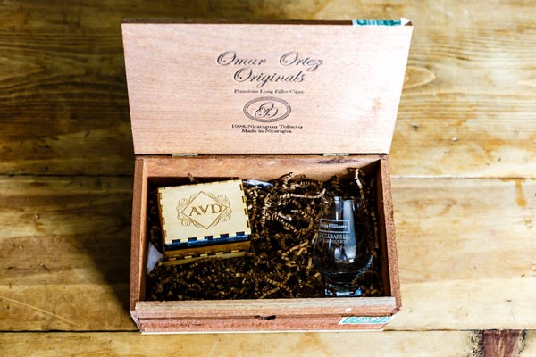 groom's gift in wooden cigar box