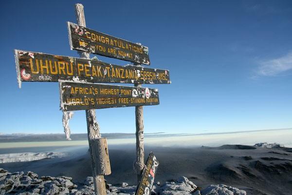 summit sign at Mt. Kilimanjaro