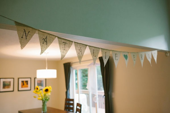sweetheart banner for couple hanging in bride's room