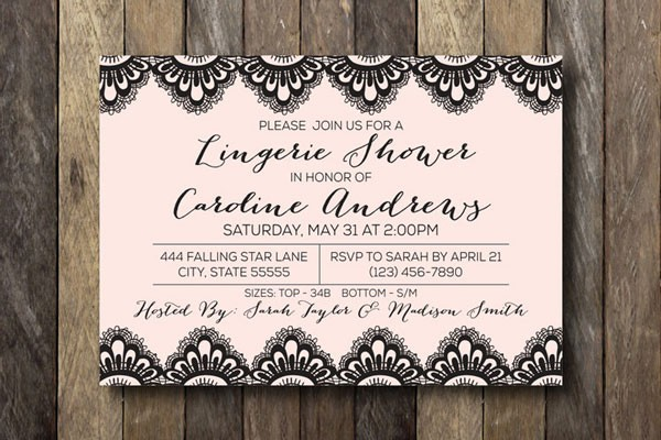 lacy lingerie bridal shower invitation in pink and black