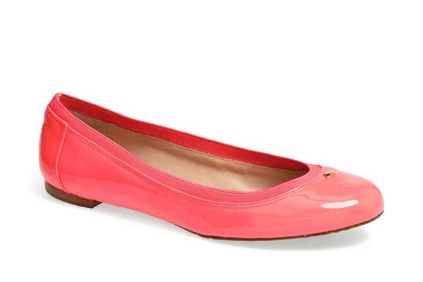 sleek and preppy classic flats in geranium pink by Kate Spade