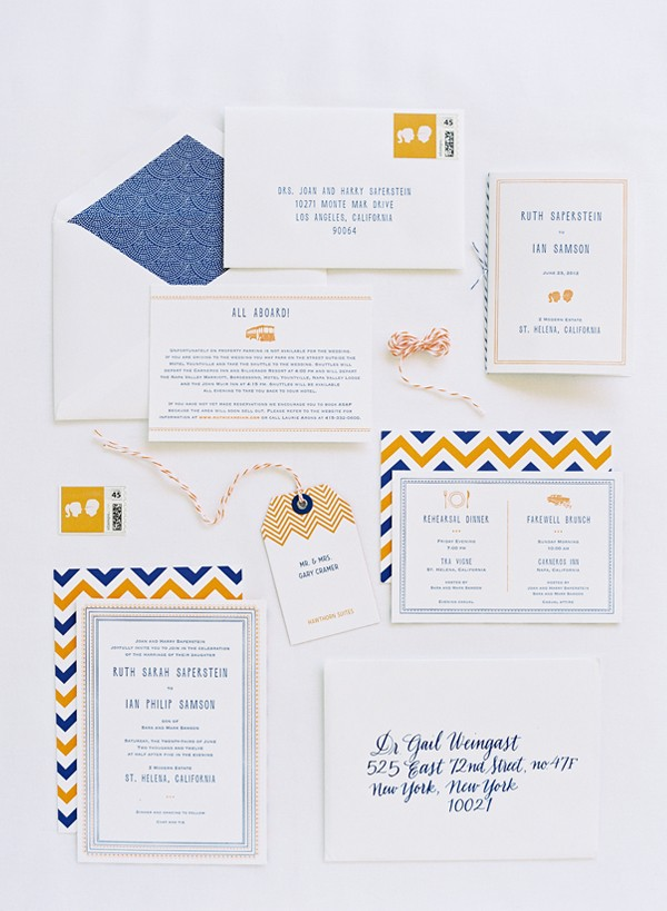 Playful yellow and blue chevron wedding invitations
