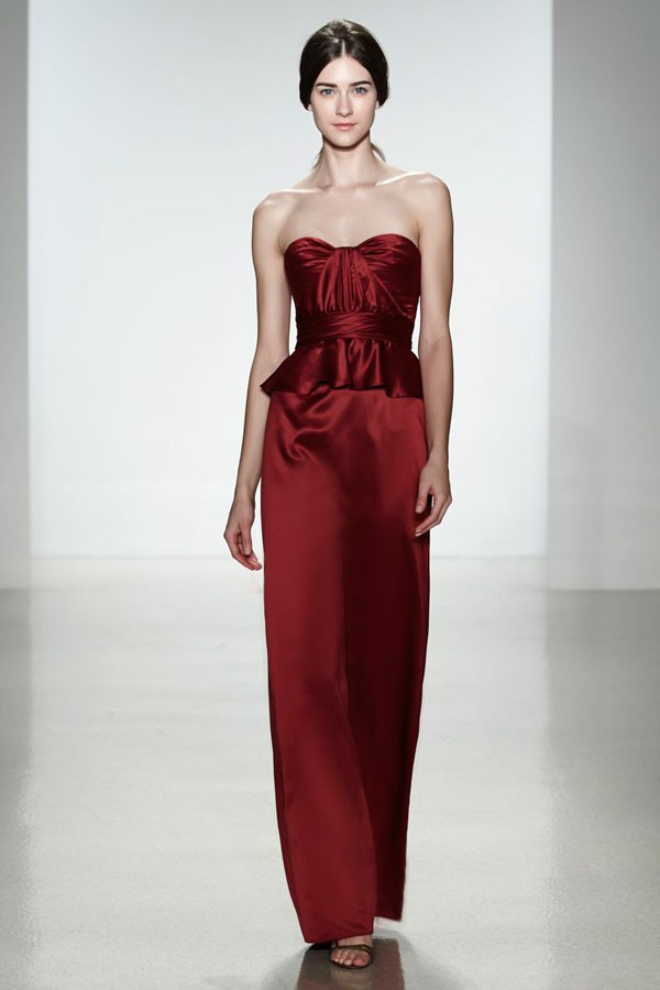 floor length bridesmaid dress with cinched waist in marsala