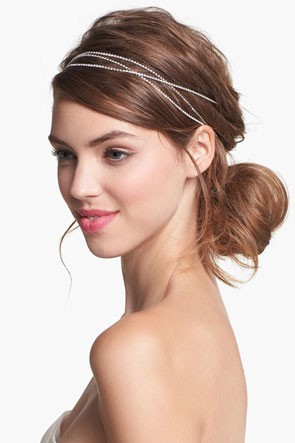 multi strand headband that wraps around wedding updo