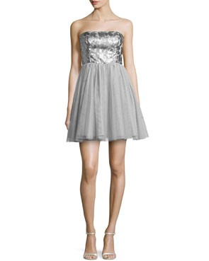 short and flouncy bridesmaid dress with shiny silver bodice