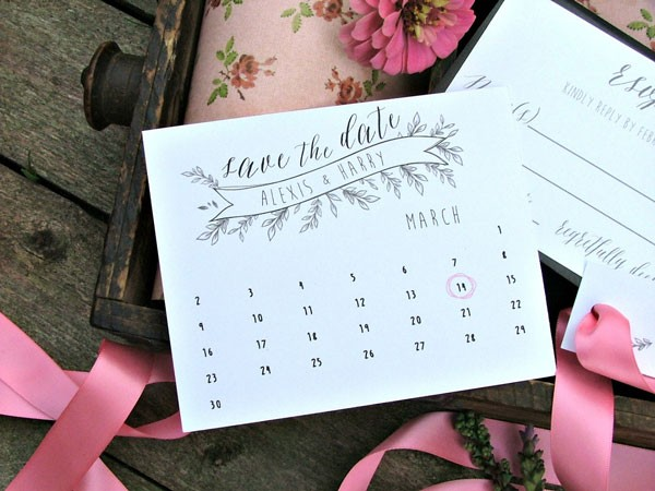 personalized calendar to enclose with your wedding invitation