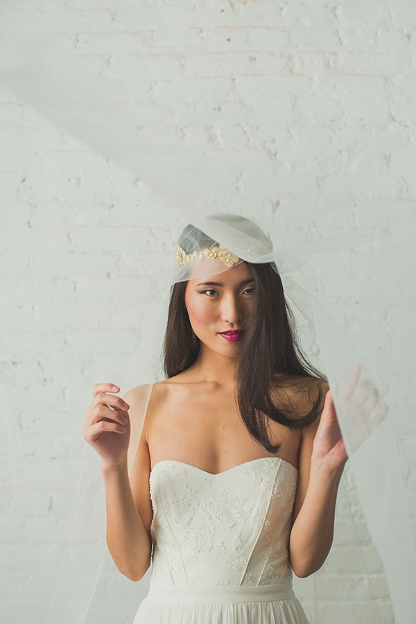 Veil and gold crown headpiece from Hushed Commotion in mywedding magazine