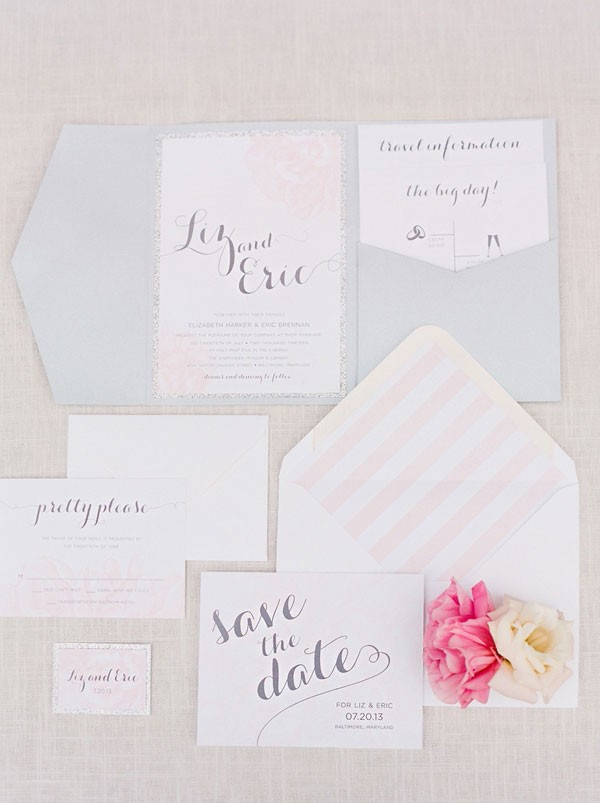 wedding invitaiton with gray envelopes and pink stripes
