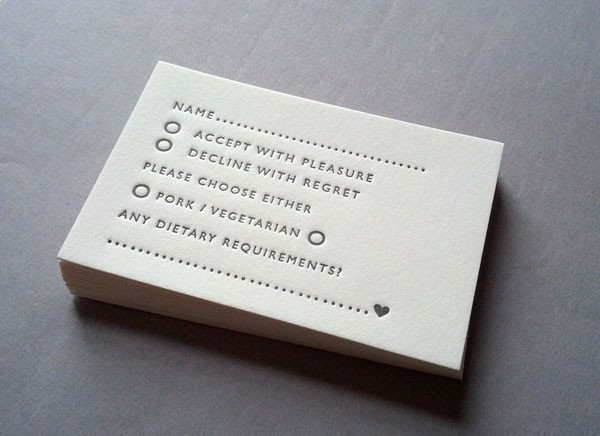 simple letterpress RSVP and meal preference card