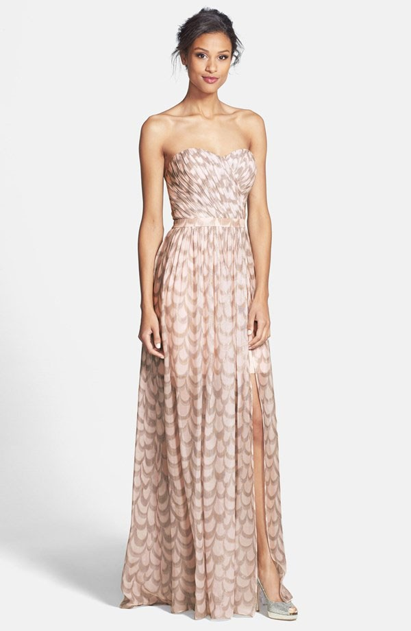 blush and silver foiled chiffon bridesmaid dress