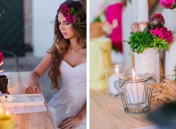 boho bride at reception table with candles and pink flowers