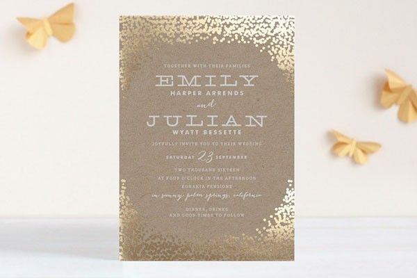 champagne and gold foil wedding invitation