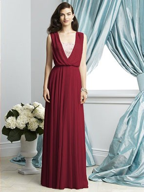 marsala colored draped chifon bridesmaid dress with lace underlay