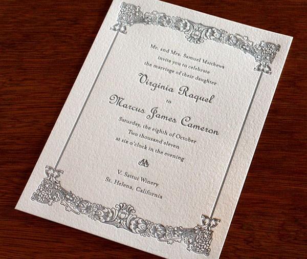 simple gray letterpress wedding invitation