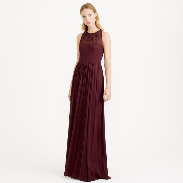 marsala colored chiffon bridesmaid dress with neck detail