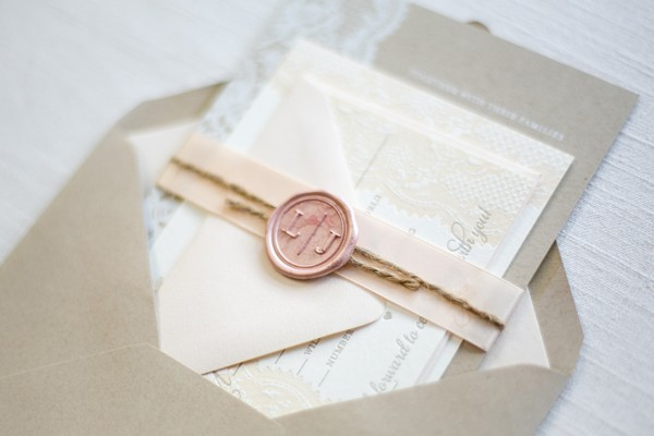 Elegant lace wedding invitations with wax stamp monogram
