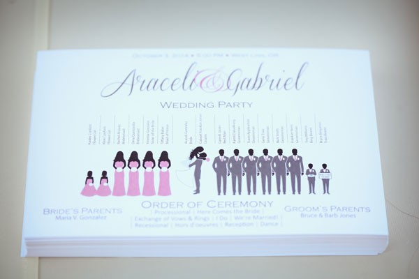 inforgraphic inspired wedding program in pink and gray