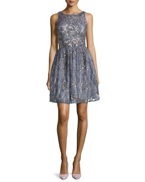 sparkly, above the knee bridesmaid dress in lavender blue