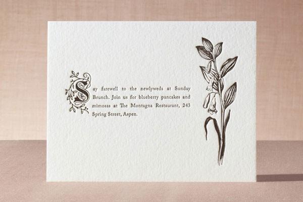brunch details enclosure for wedding invitation