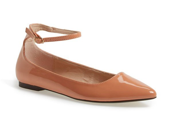 nude patent leather ankle strap flats