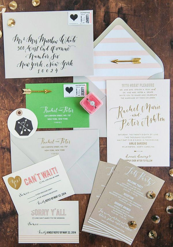 Retro wedding invitation theme with gold accents