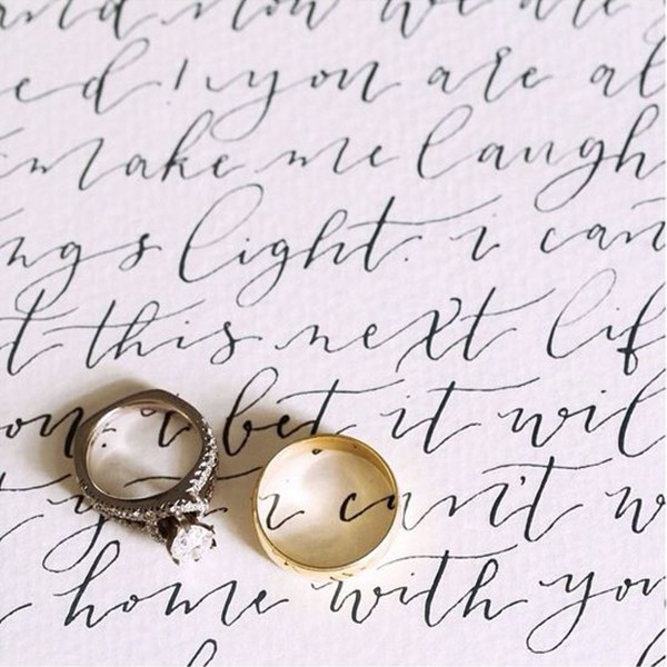 Calligraphy wedding vows and wedding rings