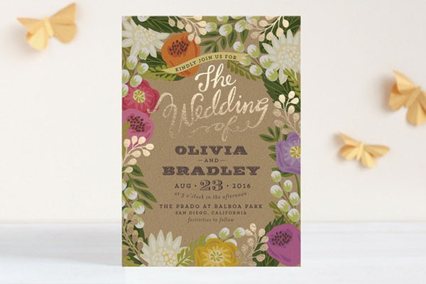 modern floral wedding invitation with gold foil accents