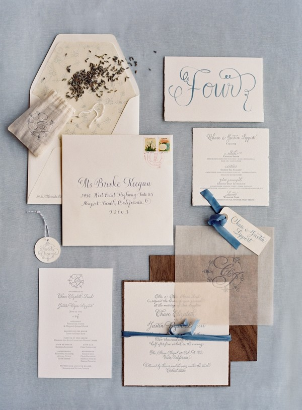 Vintage blue wedding invitation suite with blue accents