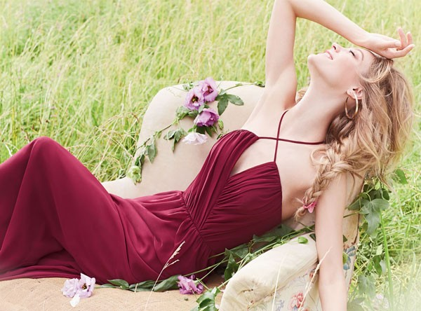 wine colored bridemaid dress with criss cross straps