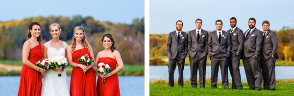 bridesmaids and groomsmen in front of lake at traditional wedding