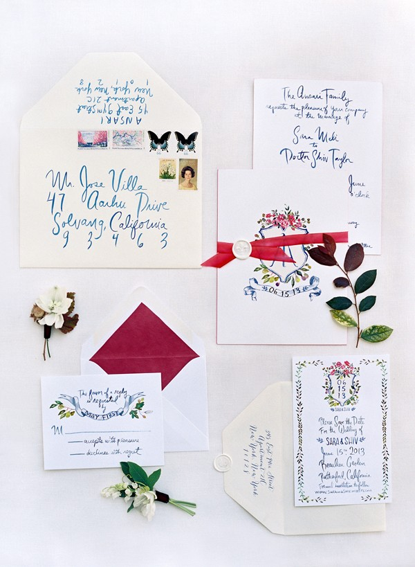 Lively and colorful wedding invitations, perfect for a garden themed wedding.