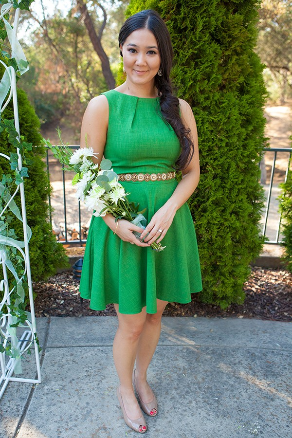 Green maid of honor dress