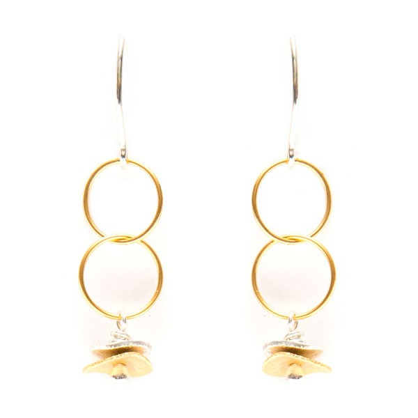 stacked disc vermeil earrings